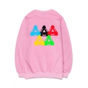 Simple Letter Triangle Printed Round Neck Long Sleeve Pullover Sweatshirt