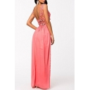 Women's Sexy Open Back Lace Chiffon Patchwork Sleeveless Plain Maxi Party Dress