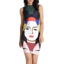 New Fashion Round Neck Sleeveless Color Block Head Printed Mini Bodycon Dress