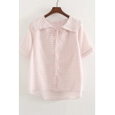 Vintage Naval Lapel Short Sleeve High Low Hem Plaid Plain Button Down Shirt