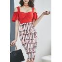 New Fashion Cold Shoulder Zip Back Top High Rise Striped Printed Slit Side Skirt Co-ords