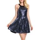 Fashion Halter Neck Sleeveless Open Back Mini A-Line Sequined Dress