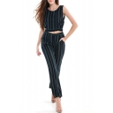 Color Block Vertical Striped Printed Round Neck Tank Top Pants Co-ords