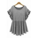 Summer's Round Neck Short Sleeve Ruffle Hem Plain Oversize Loose T-Shirt