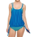 Spaghetti Straps Striped Color Block Tied Sides Tankinis