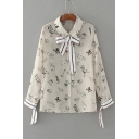 Lapel Collar Long Sleeve Fashion Dogs Printed Ribbons Buttons Down Shirt