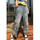 Retro Colorful Printed Tassel Trim Elastic Waist Wide Legs Jeans