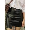 High Waist Plain Asymmetrical Trim Mini Bodycon PU Skirt