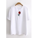 Summer's New Collection Floral Embroidered Round Neck Short Sleeve Casual Tee