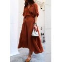 New Fashion Elegant V Neck Short Sleeve Plain Chic A-Line Maxi Dress