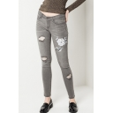 Floral Embroidered Ripped Cut Out Mid Waist Plain Skinny Jeans