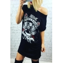 Hot Fashion One Shoulder Short Sleeve Eagle Skull Printed Casual Mini T-Shirt Dress