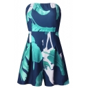 Bandeau Zip Back Foliage Printed Open Back Casual Loose Rompers