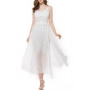 Elegant Sleeveless Lace Chiffon Patchwork Split Side Plain Midi Cami Dress