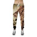 Drawstring Elastic Waist Digital Lion Pattern Casual Sports Pants