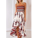 Hot Sale Floral Printed Asymmetric Hem Sleeveless Midi Tube Dress