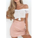 Sexy Off the Shoulder Short Sleeve Ruched Front Plain Cropped Blouse