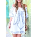 Loose Off the Shoulder Printed 3/4 Length Sleeve Mini T-Shirt Dress