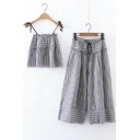 Summer's Striped Printed Cami Top Drawstring Waist Wide Legs Pants Set