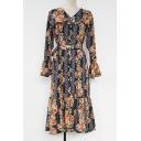 V Neck Long Sleeve Ruffle Hem Floral Printed Slit Front Midi Dress