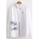 Fish Bone Embroidered Lapel Collar Long Sleeve Buttons Down Shirt
