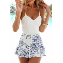 Spaghetti Straps Lace Inserted Zip Back Floral Printed Rompers