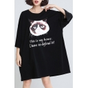 Round Neck Batwing Sleeve Letter Cat Printed Cotton Loose Oversize T-Shirt Dress