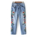 Symmetrical Floral Embroidered New Fashion Capri Jeans