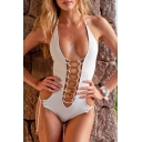 Sexy Cutout Lace-Up Front Halter Open Back Plain One Pieces Swimwear