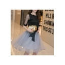 Round Neck Half Sleeve Sheer Sleeve Bow Waist Retro Organza A-Line Skirt Set