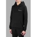 Letter Embroidered Long Sleeve Unisex Casual Hoodie with Pockets