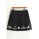 High Rise Zip Side Cartoon Cat Printed A-Line Mini Skirt