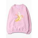 Unisex Bananas Printed Round Neck Long Sleeve Pullover Sweatshirt