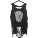 Summer's Street Style Skull Printed Round Neck Tassel Hem Hollow Out Tank Top