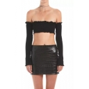 Women's Sexy Long Sleeve Off the Shoulder Plain Cropped Bandeau