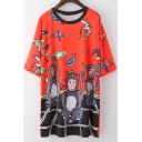 Round Neck Short Sleeve Cartoon Printed Pullover Tunic Graphic T-Shirt