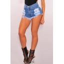 New Arrival Retro Ripped Fringe Trim Fashion Hot Pants Denim Shorts