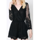 Wrap V Neck Sheer Lace Long Sleeve Sexy Plain Rompers