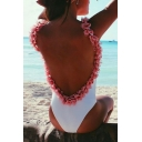 New Fashion Floral Design Trim Open Back One Piece Swimwear