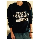 New Arrival Letter Printed Round Neck Long Sleeve Pullover Loose Sweatshirt