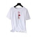 Summer's Retro Letter Rose Embroidered Round Neck Short Sleeve Cotton T-Shirt