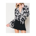 Sexy Women's Plunge V-Neck Bell Long Sleeve Floral Printed Blouse