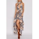 Women's Cutout V-Neck Pom Pom Trim Sleeveless High Low Hem Floral Printed Asymmetric Dress