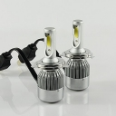 Car Hi/Lo Beam LED Headlight Bulbs H4 72W 7600LM 6000K COB LED Pack of 2