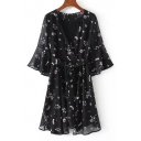 Floral Print Wrap V Neck Flared Sleeve Ribbons Waist A-Line Mini Dress