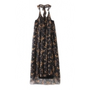 Retro Floral Printed Halter Neck Sleeveless Layered Swing Maxi Dress