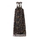 Retro Floral Printed Halter Neck Sleeveless Layered Swing Maxi Dress