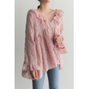 Summer's Cubic Floral Design V Neck Ruffle Trim Long Sleeve Pullover Blouse