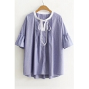 Round Neck Short Sleeve Bow Tie Collar Striped Printed Pullover Blouse