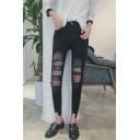 New Arrival Mesh Hollow Broken Asymmetric Hem High Waist Jeans
